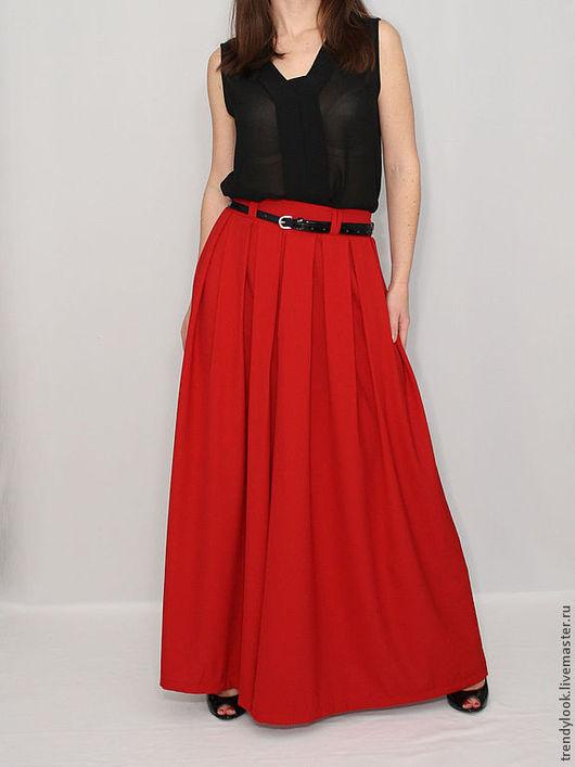 Брюки, шорты ручной работы. Ярмарка Мастеров - ручная работа. Купить Шифоновая красная юбка-брюки. Handmade. Однотонный, handmade