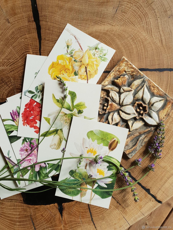 Открытки на все случаи жизни ручной работы. Ярмарка Мастеров - ручная работа. Купить Наборы ботанических открыток. Handmade. Открытки