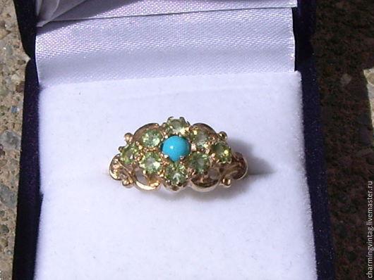 Винтажные украшения. Ярмарка Мастеров - ручная работа. Купить антикварное золотое кольцо с бирюзой и перидотами. Handmade. Разноцветный, красивое кольцо
