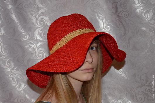 Шляпы ручной работы. Ярмарка Мастеров - ручная работа. Купить Красная шляпа. Handmade. Ярко-красный, пляжная, красная шляпка