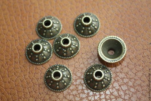 Для украшений ручной работы. Ярмарка Мастеров - ручная работа. Купить Шапочки для бусин, цвет бронза, медь(3шт) 13 мм. Handmade.