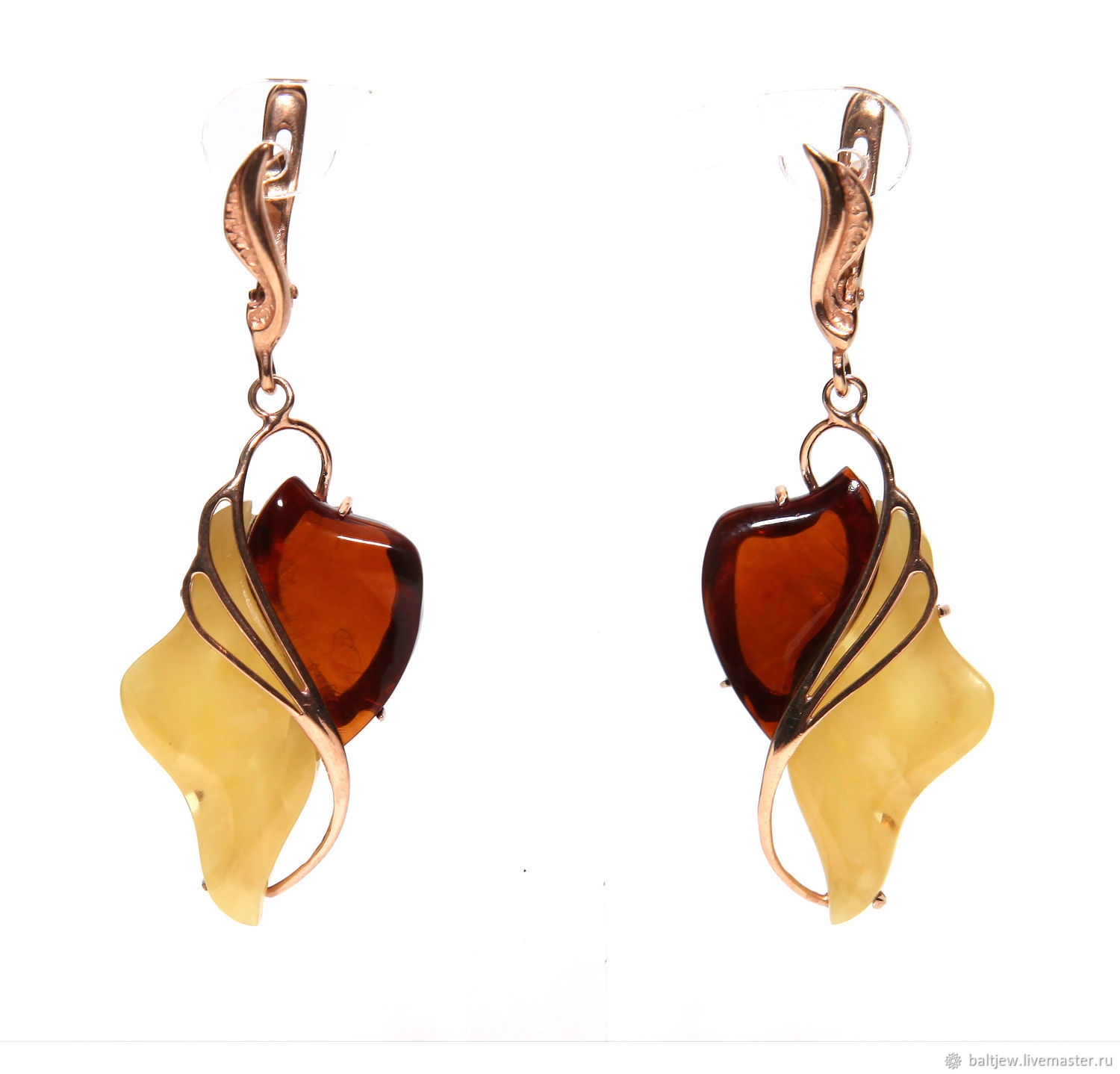 Author's earrings from amber 'Symphony', Earrings, Moscow,  Фото №1
