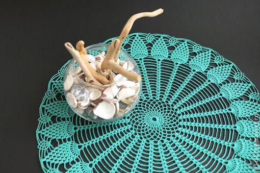 Текстиль, ковры ручной работы. Ярмарка Мастеров - ручная работа. Купить Салфетка крючком Море в банке. Handmade. Морская волна