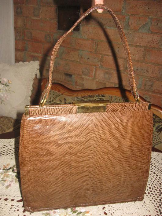 Винтажные сумки и кошельки. Ярмарка Мастеров - ручная работа. Купить Винтажная сумка натуральная кожа Европа. Handmade. Коричневый