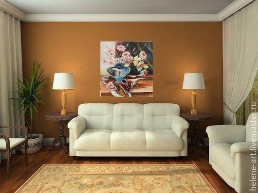 """Картины цветов ручной работы. Ярмарка Мастеров - ручная работа. Купить Картина маслом """" Натюрморт с герберами"""",40х50 (ваза с цветами, цветы). Handmade."""