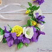 Свадебный салон handmade. Livemaster - original item Head wreath with iris flowers Wedding decoration with flowers. Handmade.