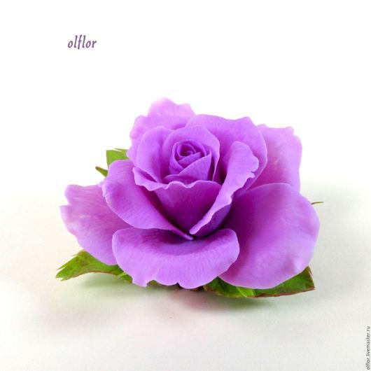 """Заколки ручной работы. Ярмарка Мастеров - ручная работа. Купить Заколка """"Розочка"""". Handmade. Сиреневый, цветок из глины, сиреневая роза"""