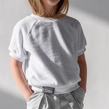 Одежда ручной работы. Ярмарка Мастеров - ручная работа Футболка CROP KID, цвет белый. Handmade.