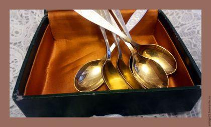 Винтажная посуда. Ярмарка Мастеров - ручная работа. Купить Винтаж мельхиор позолота набор чайных ложек. Handmade. Золотой