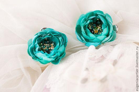 Свадебные украшения ручной работы. Ярмарка Мастеров - ручная работа. Купить Шелковые цветы для прически. Handmade. Изумрудный, изумрудный цвет