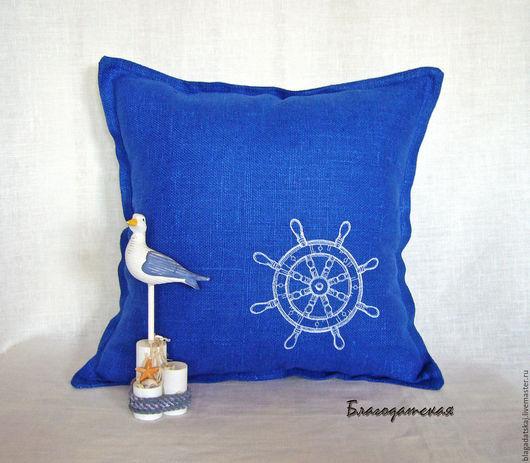 Текстиль, ковры ручной работы. Ярмарка Мастеров - ручная работа. Купить Подушка Тихая гавань. Handmade. Синий, подушка декоративная