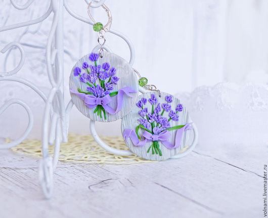 """Серьги ручной работы. Ярмарка Мастеров - ручная работа. Купить """"Лаванда"""". Handmade. Лаванда, цветы, подарок девушке, подарок женщине"""
