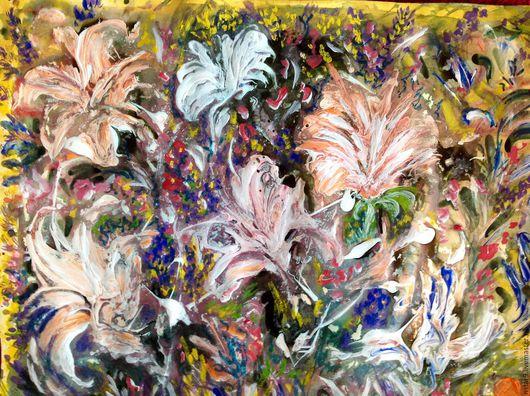 Абстракция ручной работы. Ярмарка Мастеров - ручная работа. Купить Цветочное танго.. Handmade. Кремовый, картина с цветами, подарок девушке