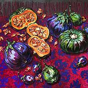 Картины ручной работы. Ярмарка Мастеров - ручная работа Японская мини тыква и тайские баклажаны. Handmade.