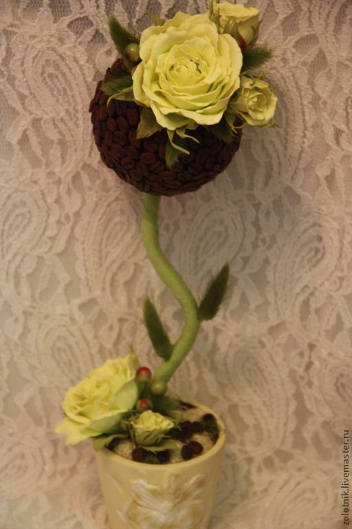 """Топиарии ручной работы. Ярмарка Мастеров - ручная работа. Купить Топиарий """"Лимонная роза"""". Handmade. Разноцветный, интерьер кухни"""
