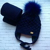 Аксессуары ручной работы. Ярмарка Мастеров - ручная работа Детская шапочка с ушками и шарф или   снуд. Handmade.