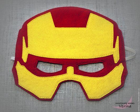 Игровая маски для детей и взрослых из фетра ручной работы. Маска Железного человека из фетра. Маски для вечеринки. Железный человек