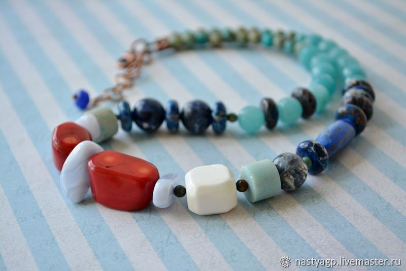 Beads from natural stones Vacation at sea, Necklace, Moscow,  Фото №1