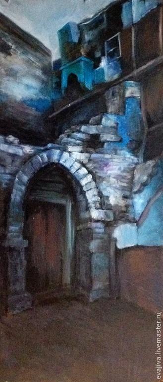 Город ручной работы. Ярмарка Мастеров - ручная работа. Купить Разрушенная сакля. Handmade. Тёмно-синий, Живопись, история, доска