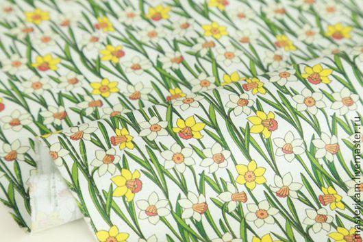 """Шитье ручной работы. Ярмарка Мастеров - ручная работа. Купить Ткань хлопок Корея 100% """"Нарциссы"""" 55 х 45 см. Handmade."""