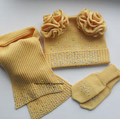Работы для детей, ручной работы. Ярмарка Мастеров - ручная работа Вязаный мериносовый комплект для девочки. Handmade.