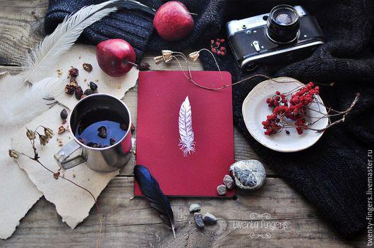 """Блокноты ручной работы. Ярмарка Мастеров - ручная работа. Купить Тетрадь """"Перо"""" Red А5. Handmade. Перо, дизайнерская бумага"""