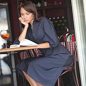 Одежда ручной работы. Ярмарка Мастеров - ручная работа Офисное платье из шерсти, синее платье Романтика миди. Handmade.