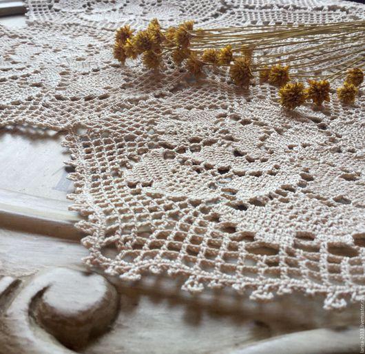 Текстиль, ковры ручной работы. Ярмарка Мастеров - ручная работа. Купить Салфетка из филейных мотивов. Цвет экрю). Handmade. Бежевый