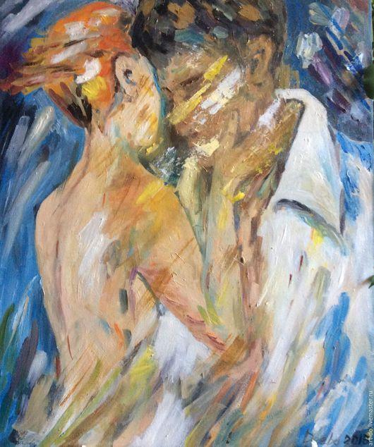 """Люди, ручной работы. Ярмарка Мастеров - ручная работа. Купить Картина """"Вдвоём"""". Handmade. Живопись маслом, картина в подарок, любовь"""