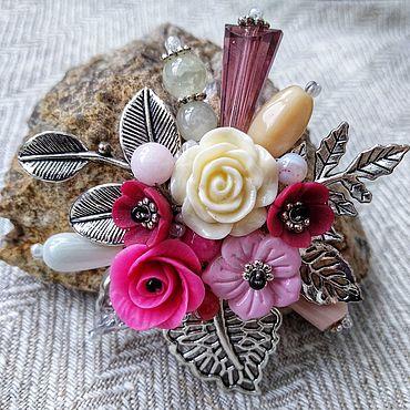 Аксессуары ручной работы. Ярмарка Мастеров - ручная работа Розовая брошь. Handmade.