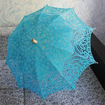 Аксессуары ручной работы. Ярмарка Мастеров - ручная работа Кружевной зонт №20 Голубой. Handmade.