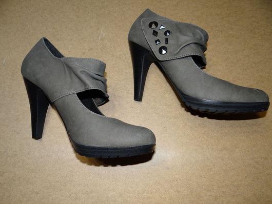 Туфли кожаные Marco Tozzi универсального серого цвета, размер 39, на каблуке.