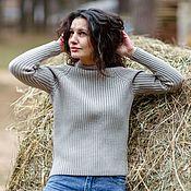 Одежда handmade. Livemaster - original item Noodle sweater with stand-up collar made of Merino Comfort. Handmade.