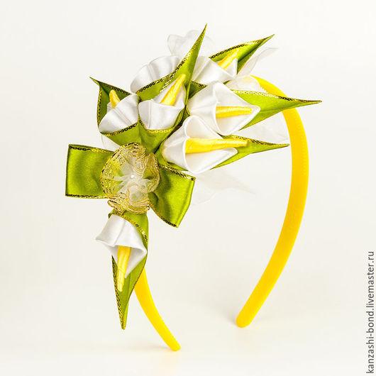 Диадемы, обручи ручной работы. Ярмарка Мастеров - ручная работа. Купить Цветы на ободке Каллы. Handmade. Желтый, цветы на ободке
