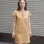 Одежда ручной работы. Ярмарка Мастеров - ручная работа Льняное платье в клетку. Handmade.