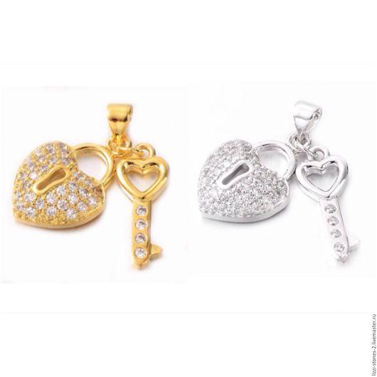 Подвеска Сердце-замочек с ключиком серебро и золото (Milano) Евгения (Lizzi-stones-2)