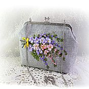 Сумки и аксессуары handmade. Livemaster - original item Clutch bag, cosmetic bag embroidered with ribbons, handmade bag. Handmade.