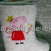 Обувь ручной работы. Ярмарка Мастеров - ручная работа Детские валенки Свинка Пепа. Handmade.