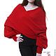 """Большие размеры ручной работы. Заказать Шарф-свитер безразмерный вязаный """"Красный"""" в любом цвете, любой размер. Одежда для женщин шикарных размеров (seanna12). Ярмарка Мастеров."""