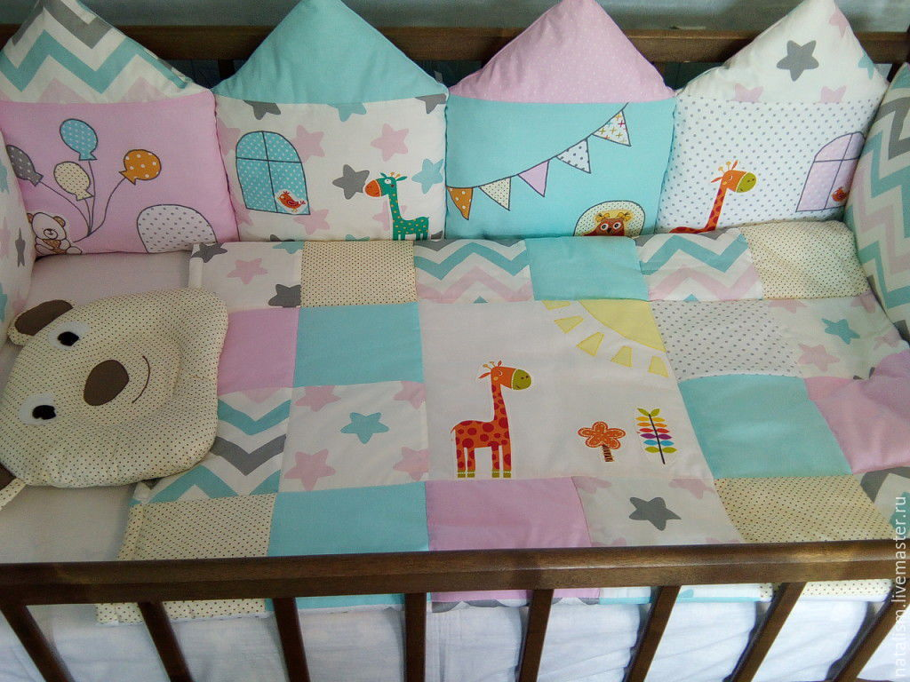 Бортики подушки в кроватку размеры своими руками
