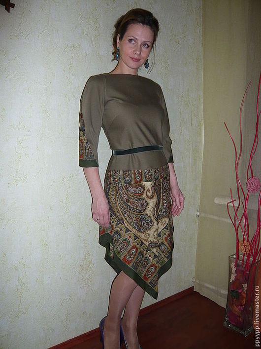 """Платья ручной работы. Ярмарка Мастеров - ручная работа. Купить Платье """"Хаки"""". Handmade. Хаки, зеленое платье, теплое платье"""
