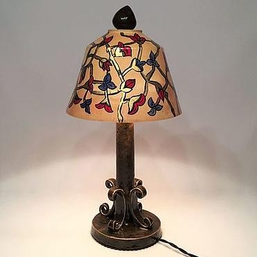 Для дома и интерьера ручной работы. Ярмарка Мастеров - ручная работа Настольная лампа из дерева, керамики и меди с росписью. Handmade.