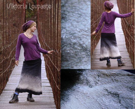 """Юбки ручной работы. Ярмарка Мастеров - ручная работа. Купить Войлочная юбка """"Зимний лес"""". Handmade. Чёрно-белый, войлок"""