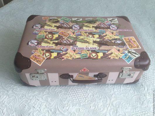 Чемоданы ручной работы. Ярмарка Мастеров - ручная работа. Купить чемодан авиапутешественника. Handmade. Комбинированный, Декупаж, винтажный стиль, ткань