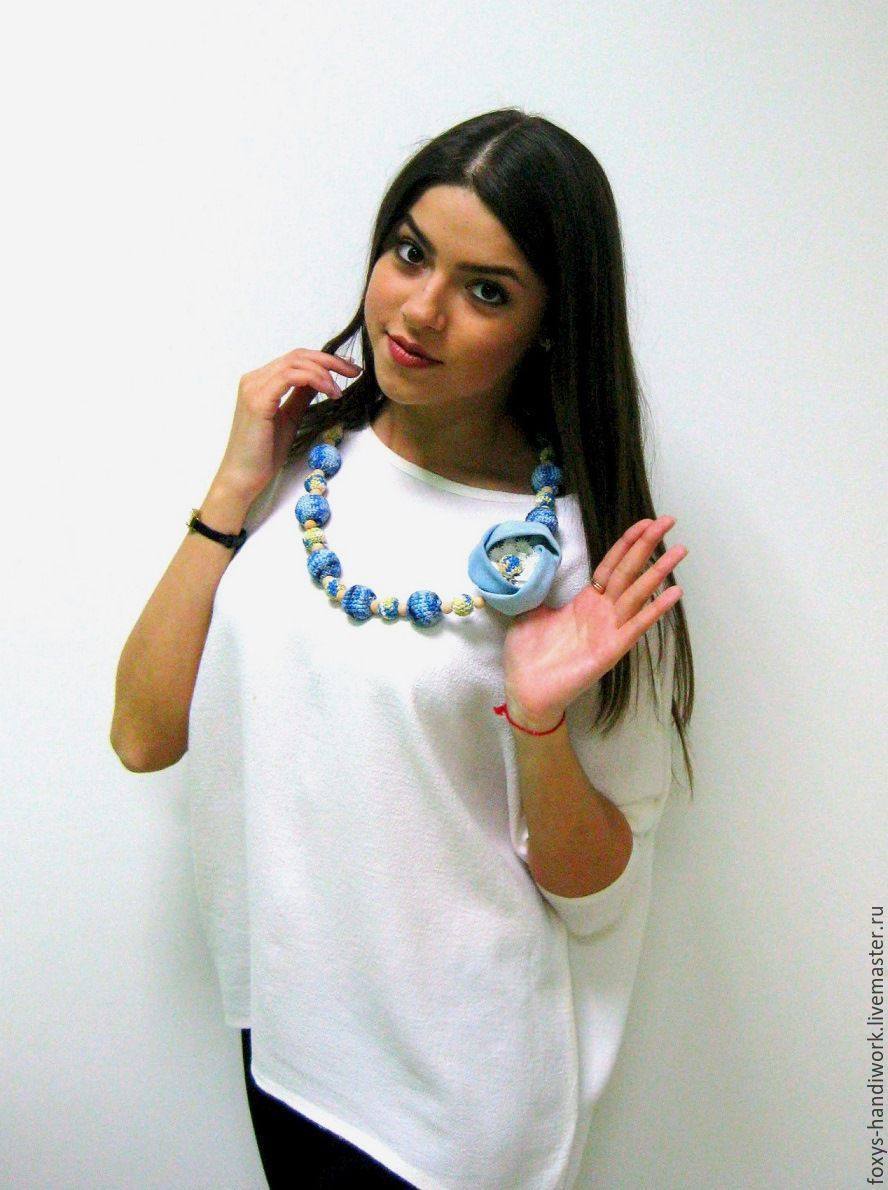 beads jeans knitted with fabric flower and lace jeans, Necklace, Tula,  Фото №1