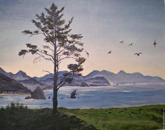 """Пейзаж ручной работы. Ярмарка Мастеров - ручная работа. Купить Картина маслом """"Морской пейзаж с чайками"""".. Handmade. Голубой, горы"""