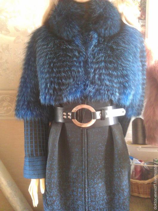 Верхняя одежда ручной работы. Ярмарка Мастеров - ручная работа. Купить Пальто из синей лисы. Handmade. Тёмно-синий, бирюза