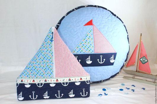 Детская ручной работы. Ярмарка Мастеров - ручная работа. Купить Пуфик и пижамница -кораблик. Подарочный комплект. Handmade. Синий