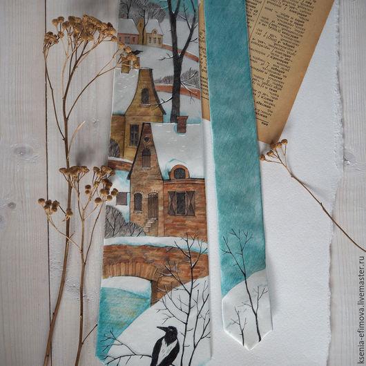 Галстуки, бабочки ручной работы. Ярмарка Мастеров - ручная работа. Купить Январь - шелковый галстук с ручной росписью. Handmade. Бирюзовый