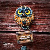 Сувениры и подарки handmade. Livemaster - original item Magnet Owl Guardian of the refrigerator. Handmade.